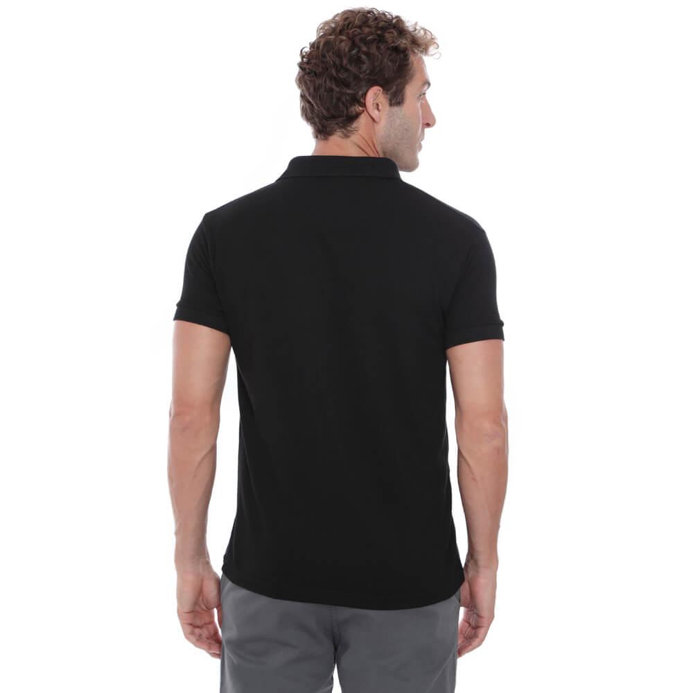 Camisa Polo Hugo Deleon Piquet Slim Fit Lisa Preto