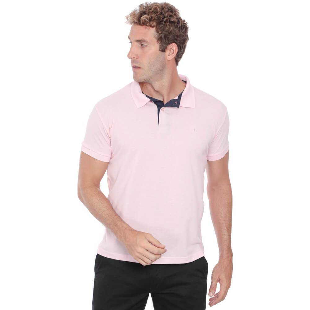 Camisa Polo Hugo Deleon Piquet Slim Fit Rosa