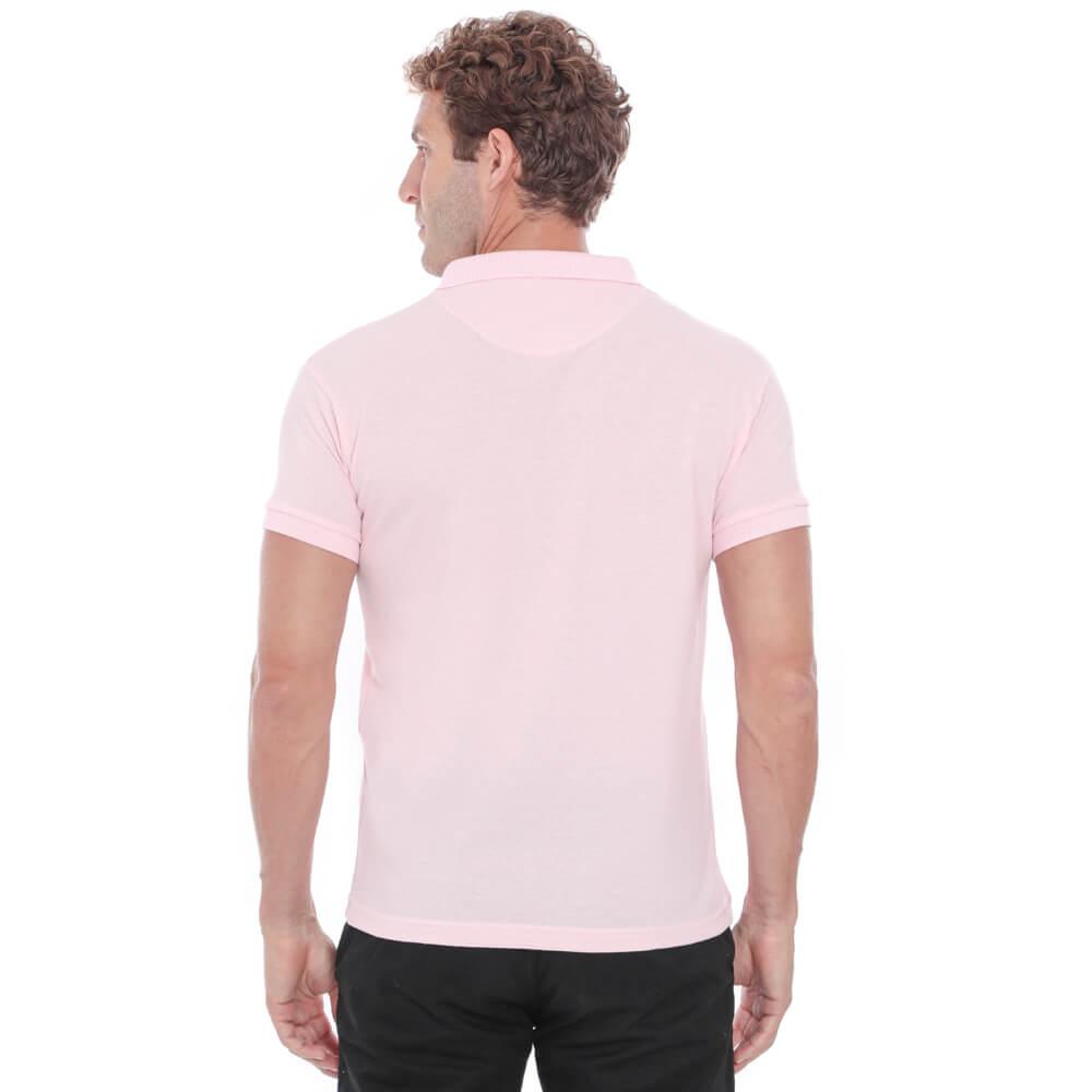 Camisa Polo Hugo Deleon Piquet Slim Fit Rosa
