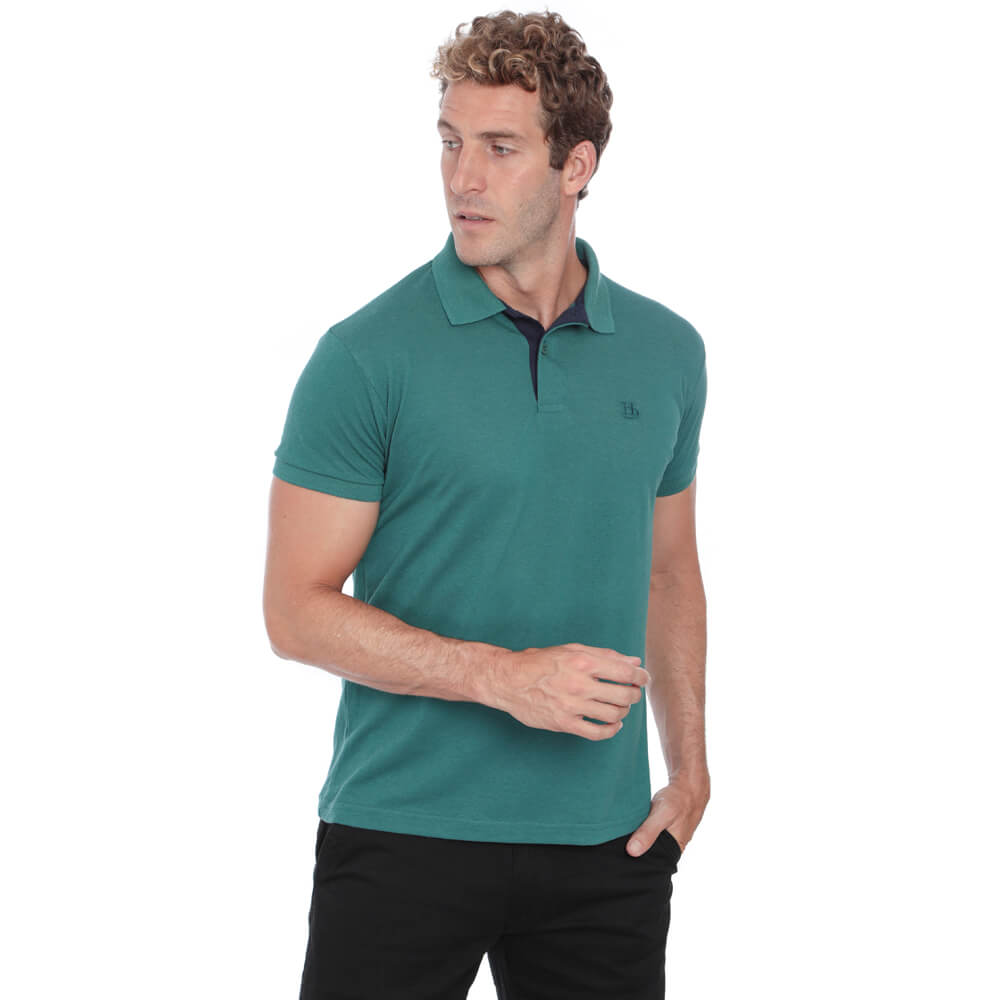 Camisa Polo Hugo Deleon Piquet Slim Fit Lisa Verde