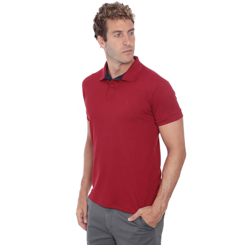 Camisa Polo Hugo Deleon Piquet Slim Fit Lisa Vermelha