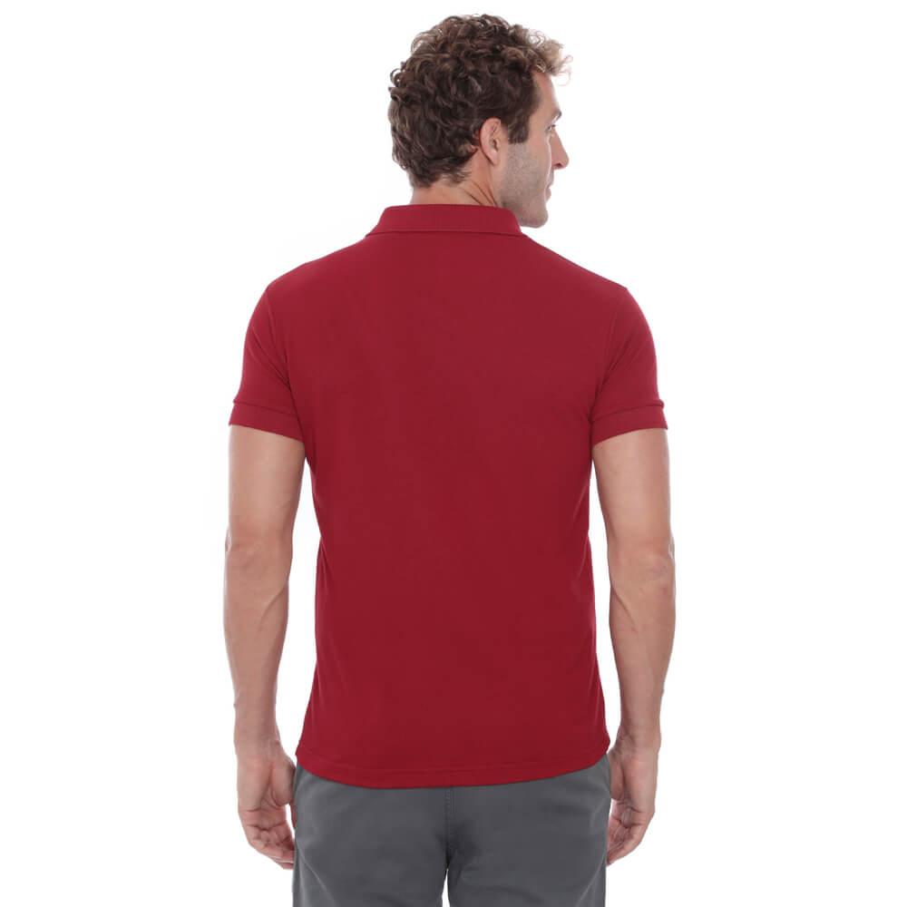 Camisa Polo Hugo Deleon Piquet Slim Fit Lisa Vermelha