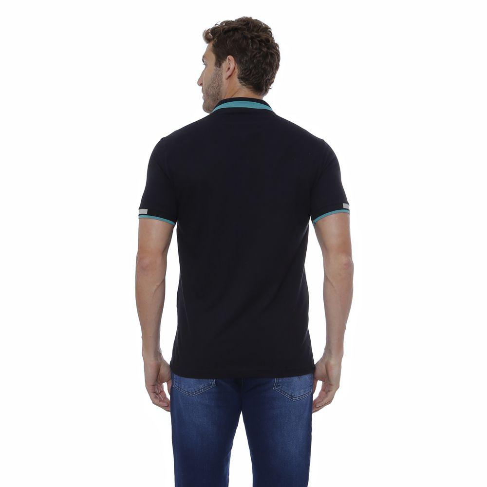 Camisa Polo Hugo Deleon Piquet preta