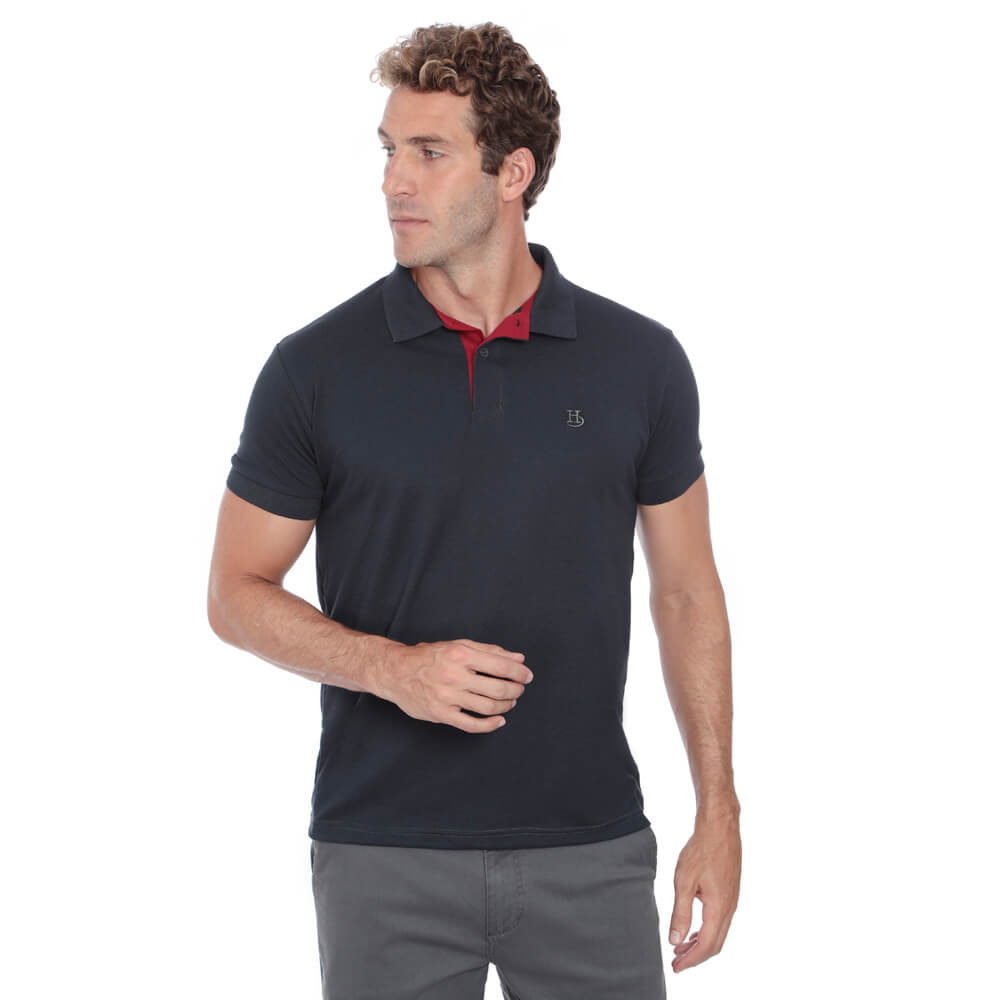 Camisa Polo Hugo Deleon Piquet Slim Fit Lisa Grafite