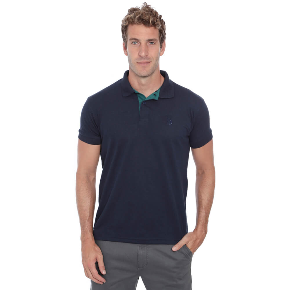 Camisa Polo Hugo Deleon Piquet Slim Fit Lisa Marinho