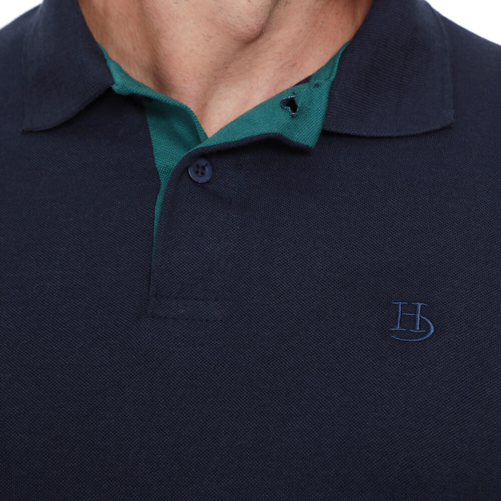 Camisa Polo Hugo Deleon Piquet Slim Fit Lisa Marinho