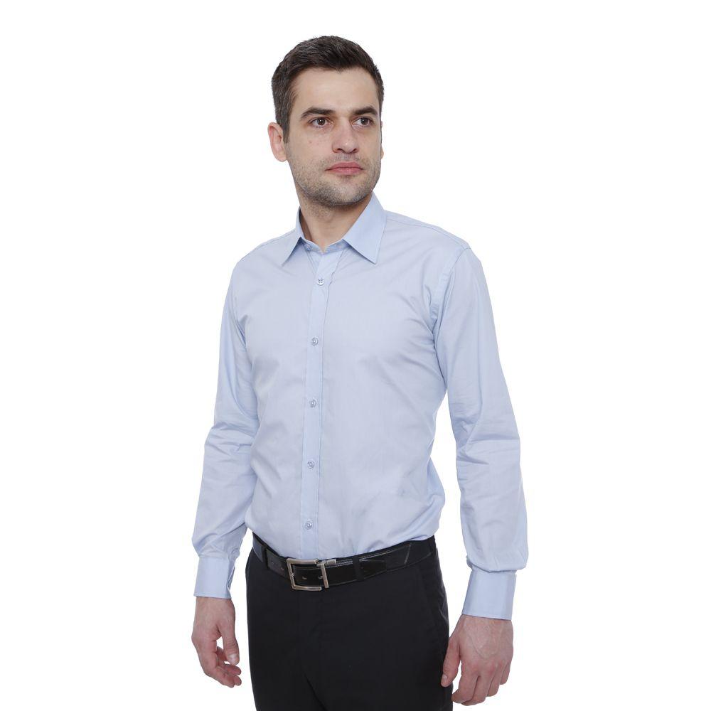Camisa slim fit Hugo Deleon algodão Bulgatti azul claro