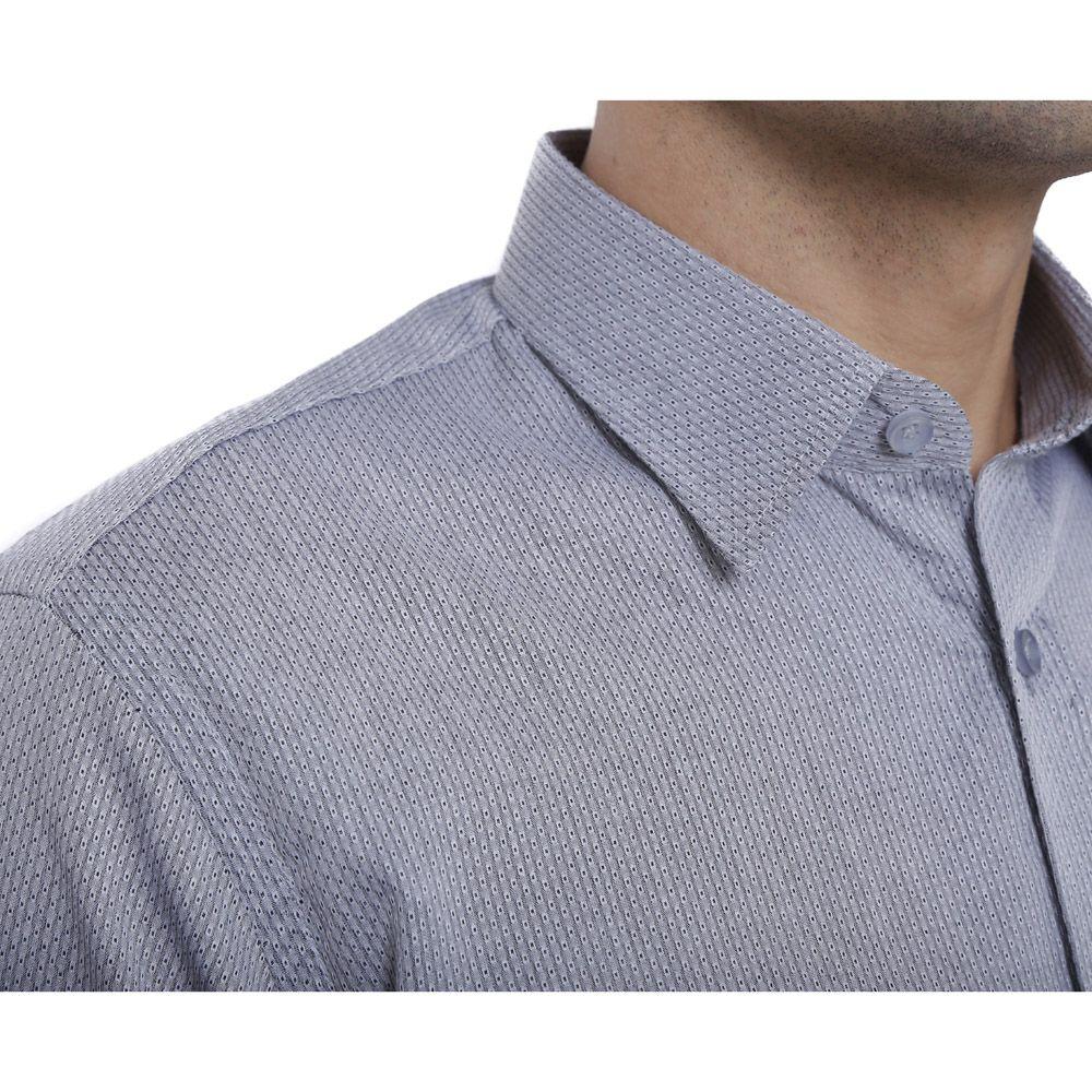 Camisa slim fit Hugo Deleon algodão Dobby grafite