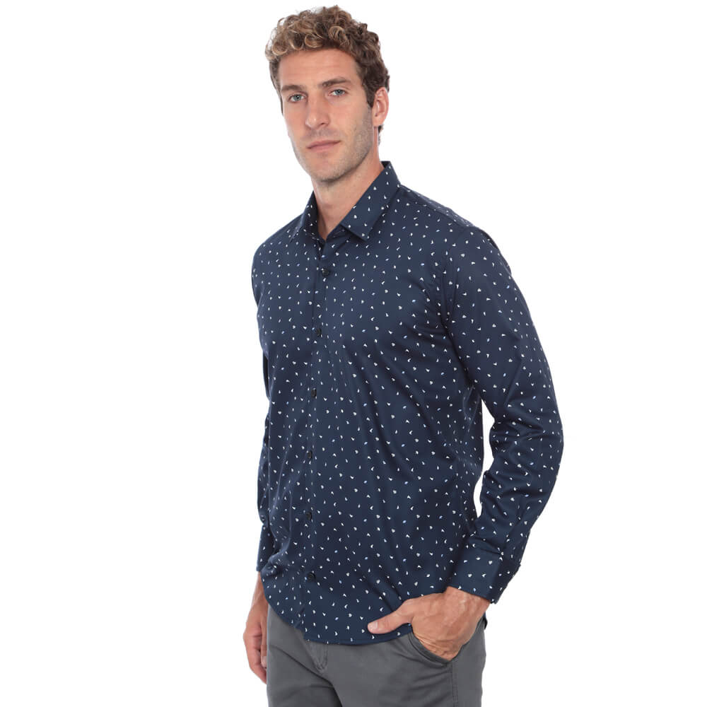 Camisa Slim Fit Hugo Deleon Estampada Azul
