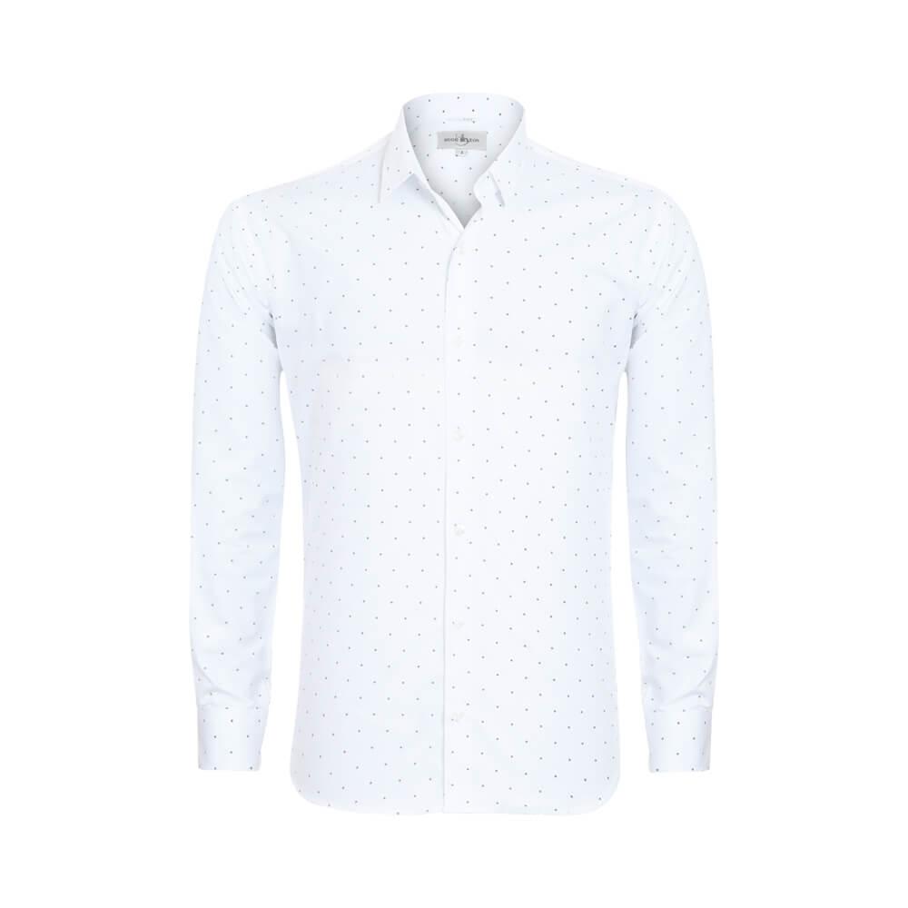 Camisa Slim Fit Hugo Deleon Estampada Branca