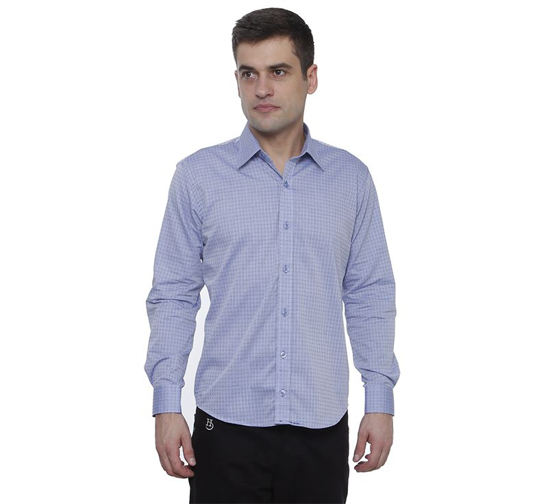 Camisa Hugo Deleon Maquinetada Azul