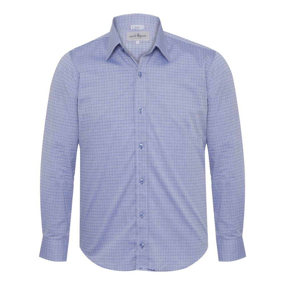 Camisa slim fit Hugo Deleon maquinetada algodão azul claro