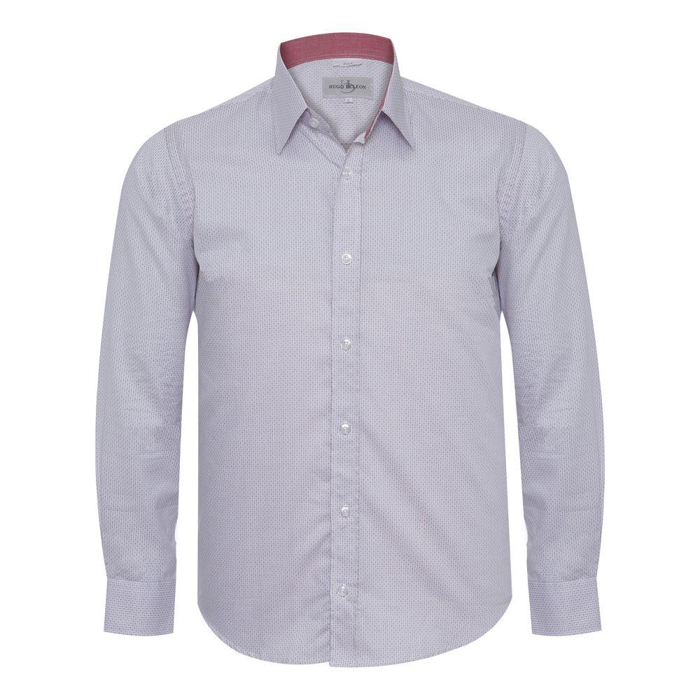 Camisa slim fit Hugo Deleon maquinetada algodão branca
