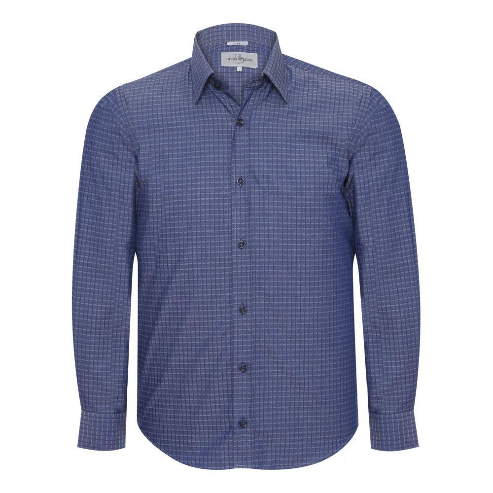 Camisa slim fit Hugo Deleon maquinetada algodão grafite