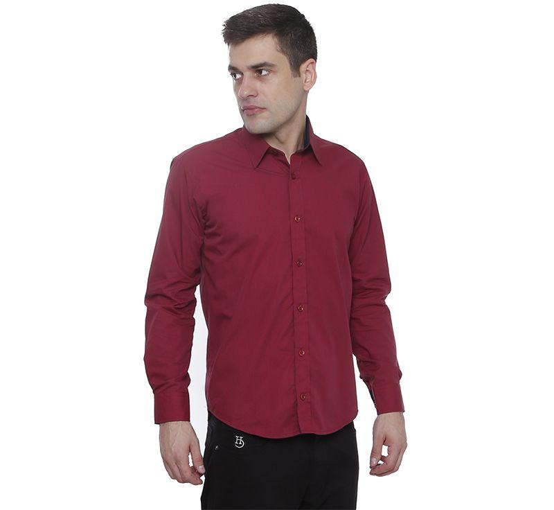 Camisa slim fit Hugo Deleon maquinetada algodão vinho bordo