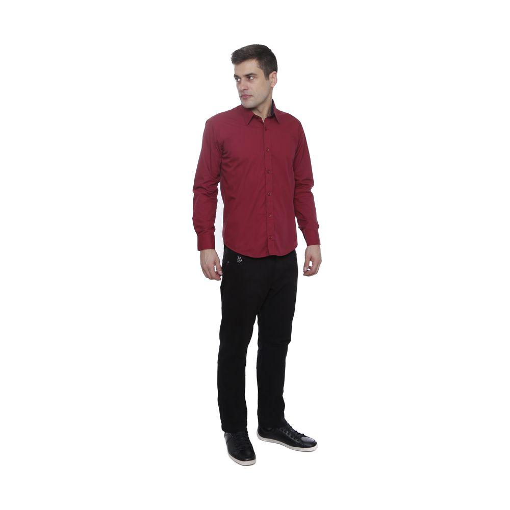 Camisa Slim Fit Hugo Deleon Maquinetada Vinho