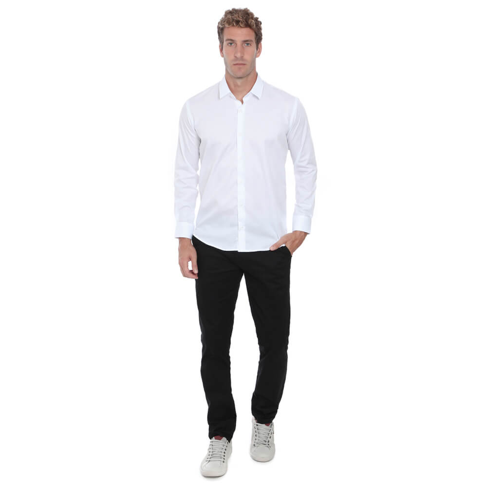 Camisa Slim Hugo Deleon Maquinetada Branca