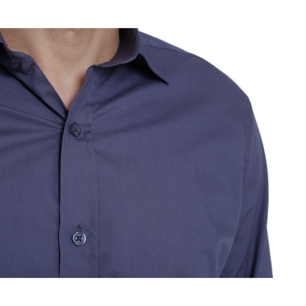Camisa Social Hugo Deleon Bulgatti Azul