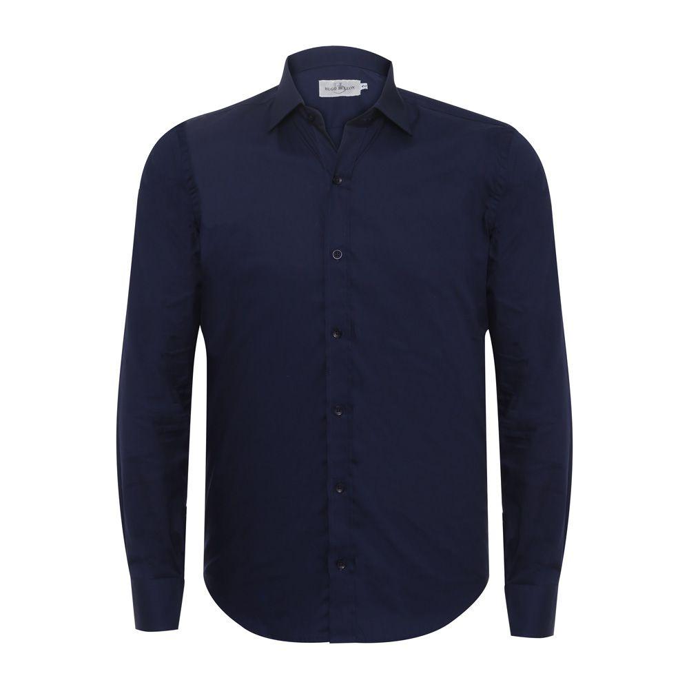 Camisa social Hugo Deleon algodão Bulgatti azul marinho