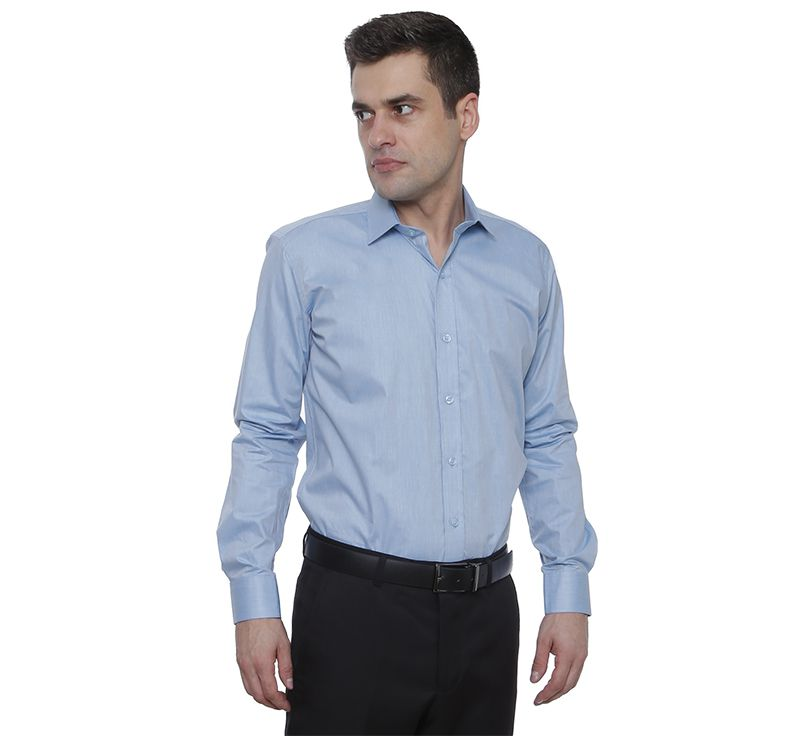 Camisa social Hugo Deleon algodão Chambray azul