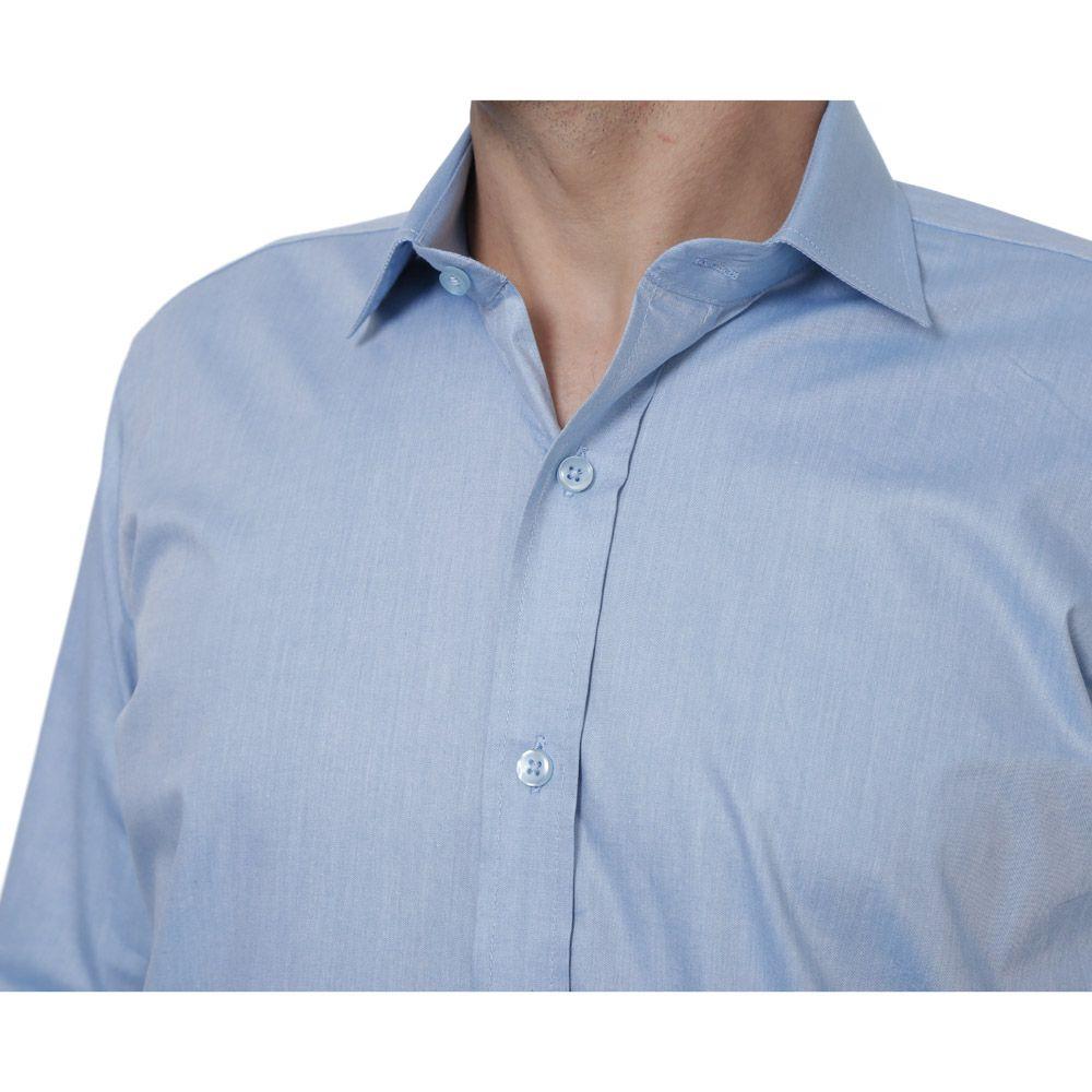 Camisa Social Hugo Deleon Chambray Fio Tinto Azul