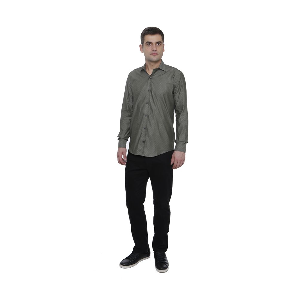 Camisa Hugo Deleon Maquinetada Dobby Cinza