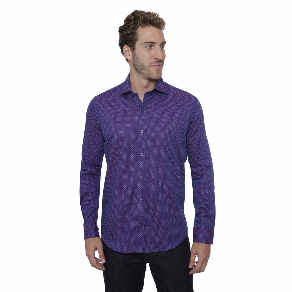 Camisa Slim Fit Hugo Deleon High Line Roxo