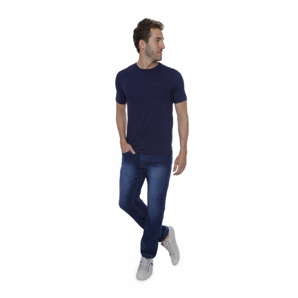Camiseta basica Hugo Deleon algodão gola careca azul marinho
