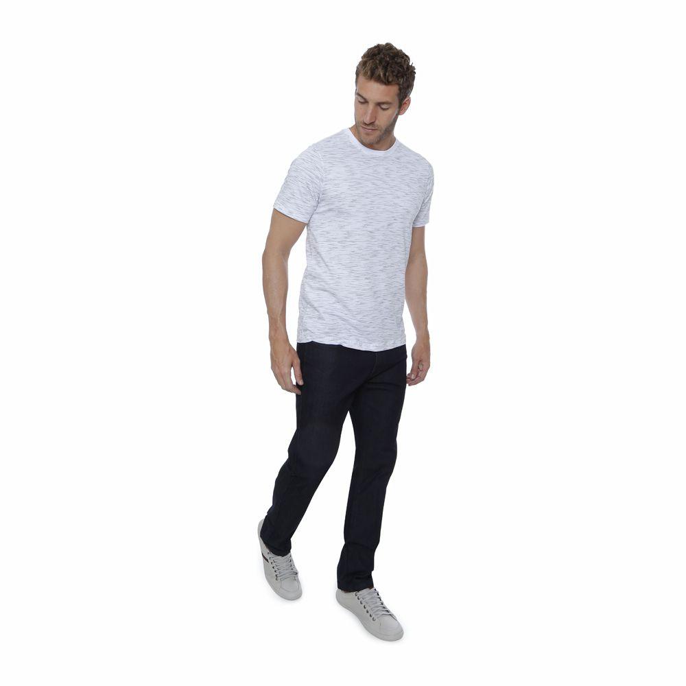 Camiseta Básica Hugo Deleon Estampada Branca