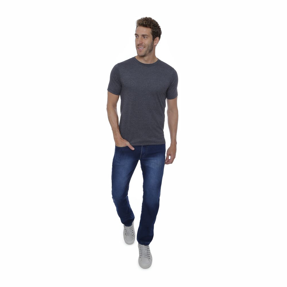 Camiseta basica Hugo Deleon algodão gola careca grafite