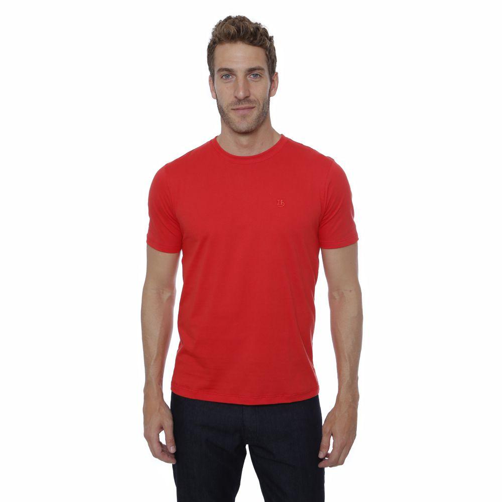 Camiseta basica Hugo Deleon algodão gola careca vermelha