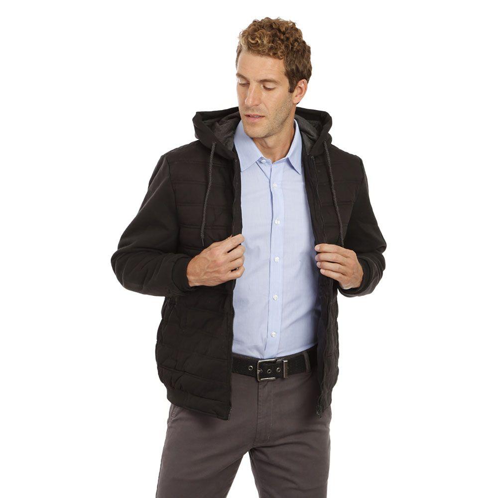 Jaqueta Esporte Cotton Capuz Preta