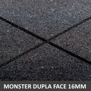Piso De Borracha Dupla Face 1,00 x 1,00 16mm Preto Ultra Impact