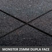 Piso De Borracha Dupla Face 1,00 x 1,00 25mm Preto - Monster