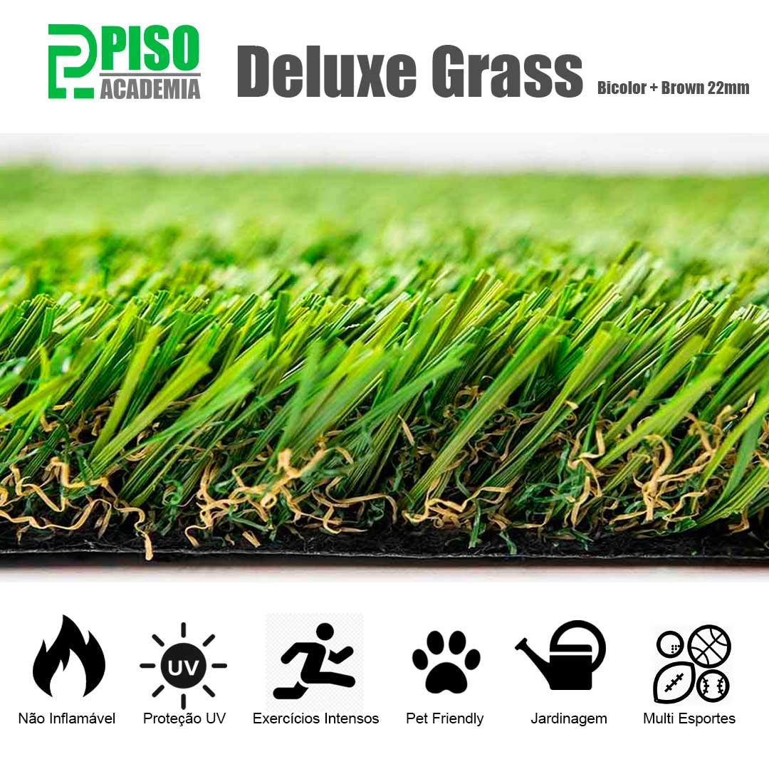 Grama Sintética Deluxe Grass 22mm 2x10m (20m²) Bicolor Brown