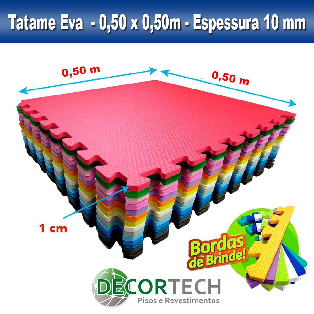 Kit 10 placas Tatame Eva Infantil Atóxico 0,50 x 0,50m - 10mm - Cores Variadas