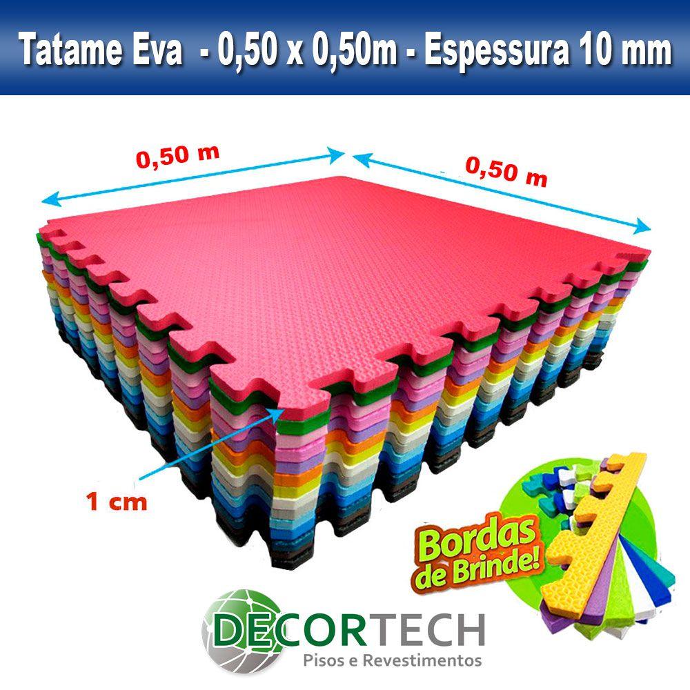 Kit 20 placas Tatame Eva Infantil Atóxico 0,50 x 0,50m - 10mm - Cores Variadas