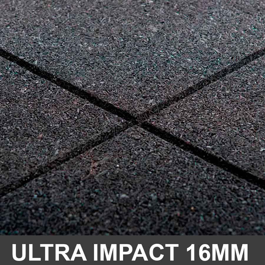 Piso De Borracha 1,00 x 1,00 16mm Preto Ultra Impact