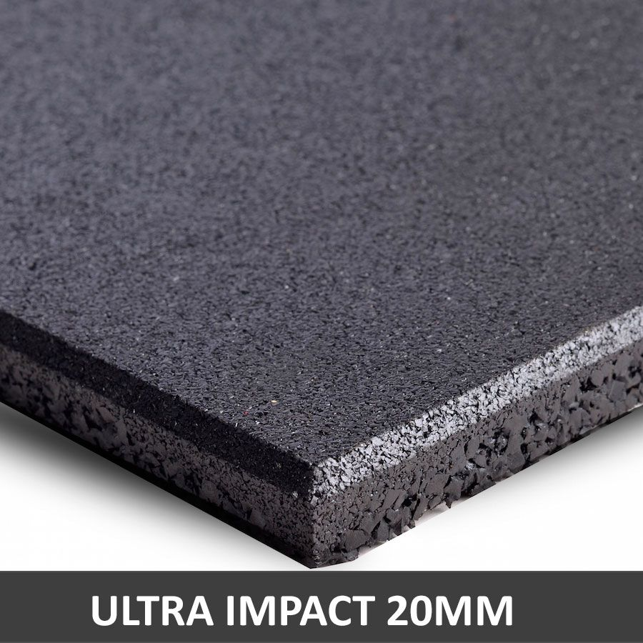 Piso De Borracha Fitness 0,50 x 0,50m 20mm Preto Ultra Impact