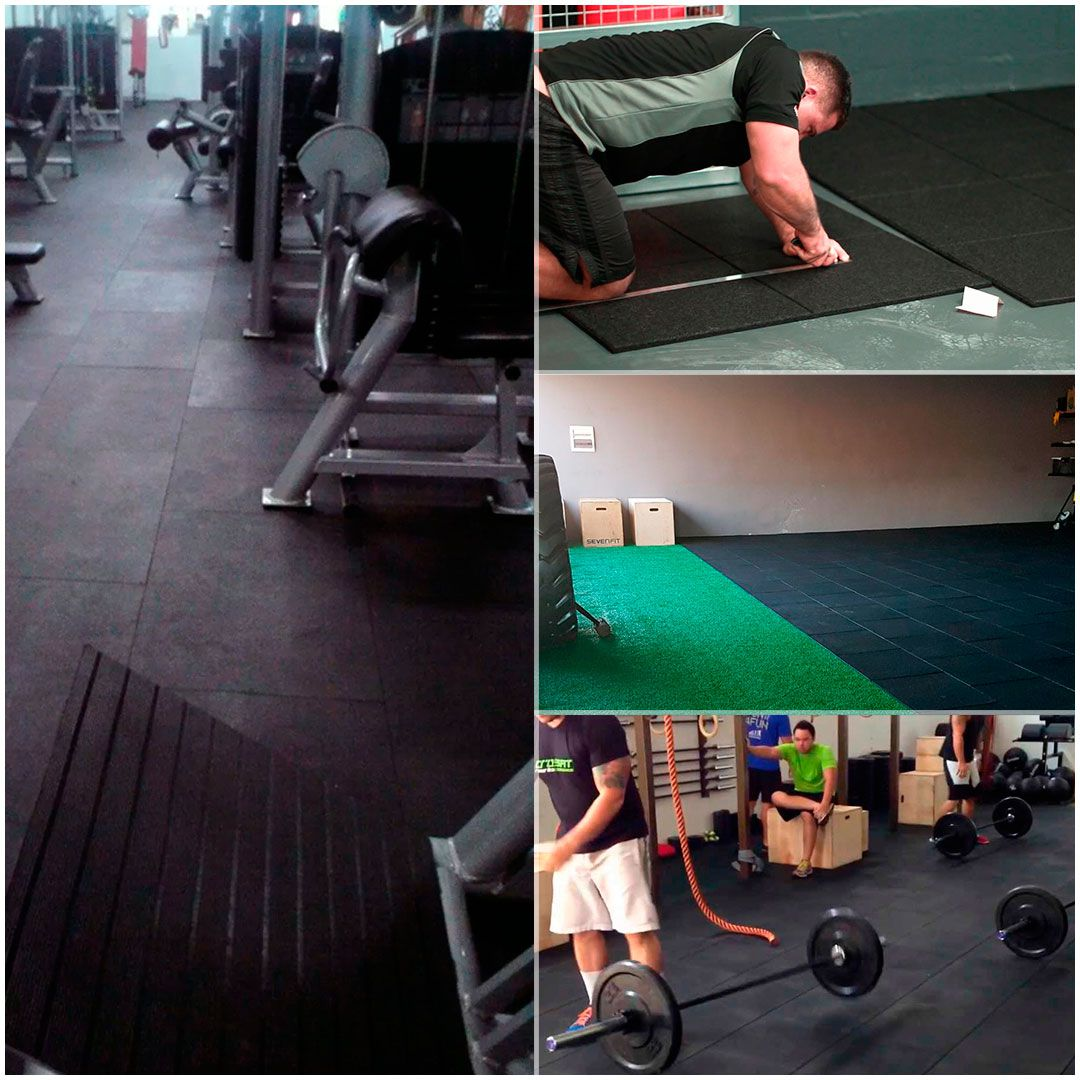 Piso De Borracha Fitness 5m² - 20 unidades 0,50 x 0,50m 16mm Preto Ultra Impact
