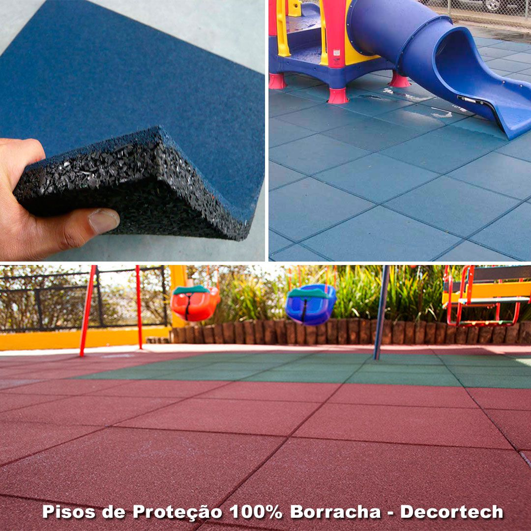 Piso De Borracha Square Kids Impact 1x1mm 25mm -  Drenante