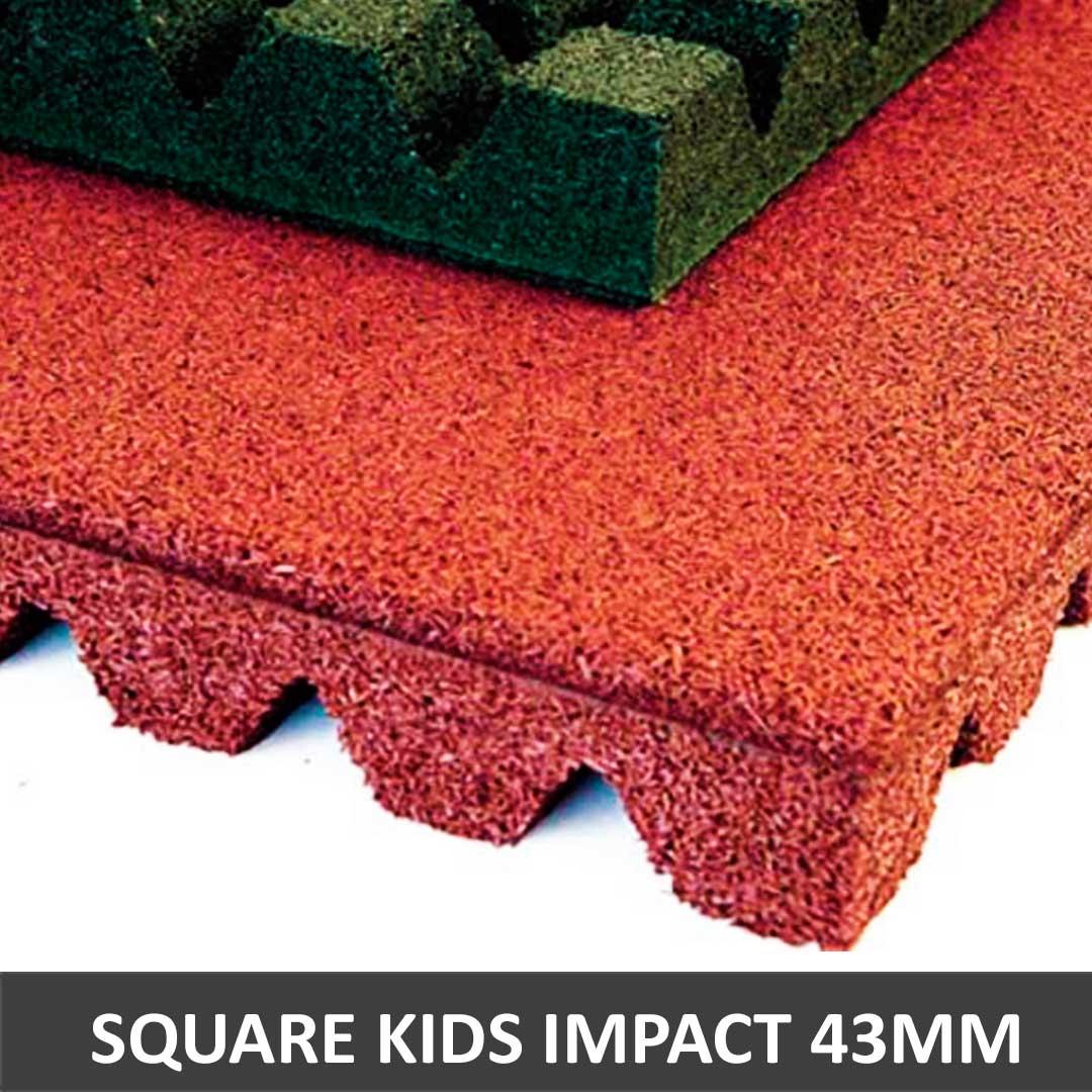 Piso De Borracha Square Kids Impact 1x1mm 43mm -  Drenante
