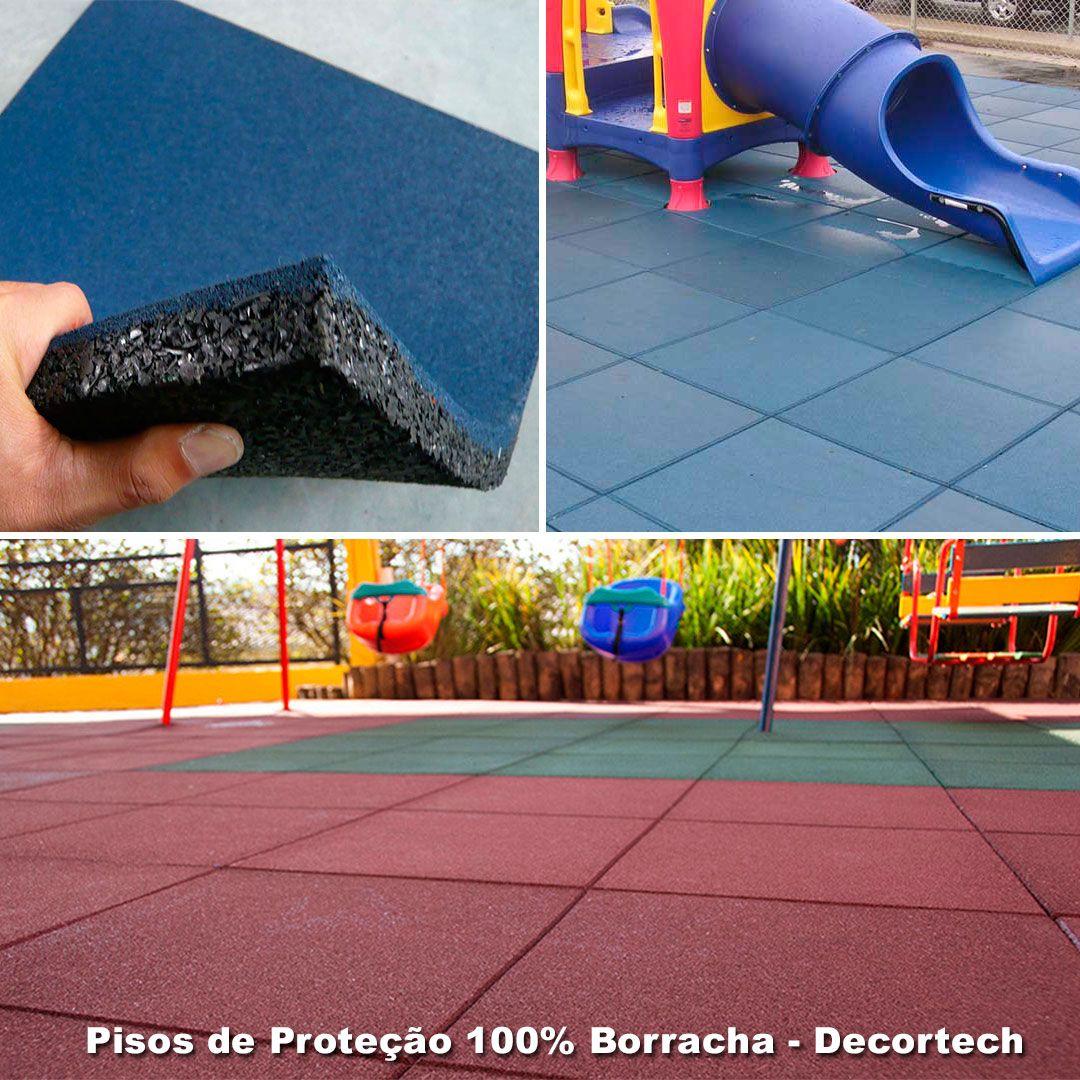 Piso De Borracha Square Kids Kit 4 Placas 0,50 x 0,50m (1m²) 16mm -  Proteção Playgrounds