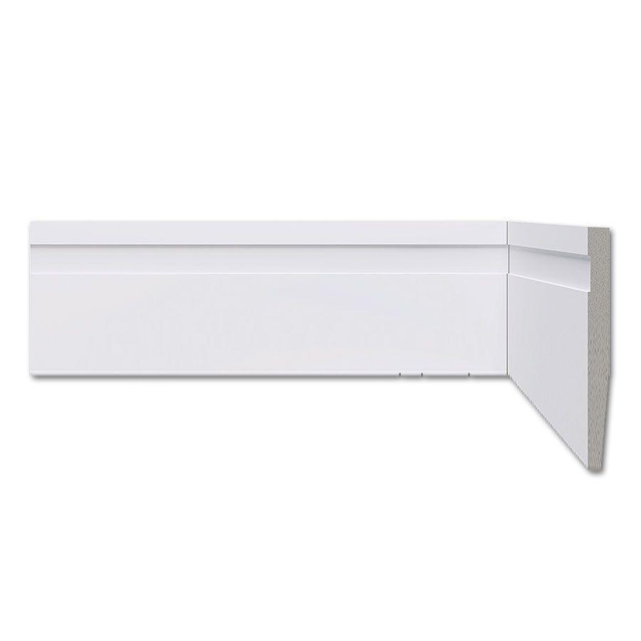 Rodapé Frisado Branco 10cm Barra 2,20m - Poliestireno