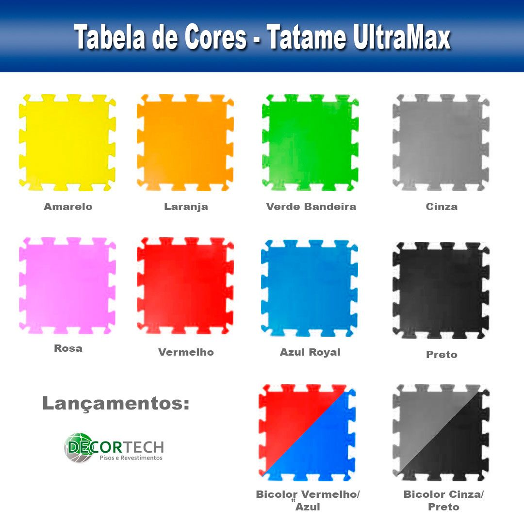 Tatame Eva Alto Impacto UltraMax 0,50 x 0,50m - 20mm - Cores Variadas
