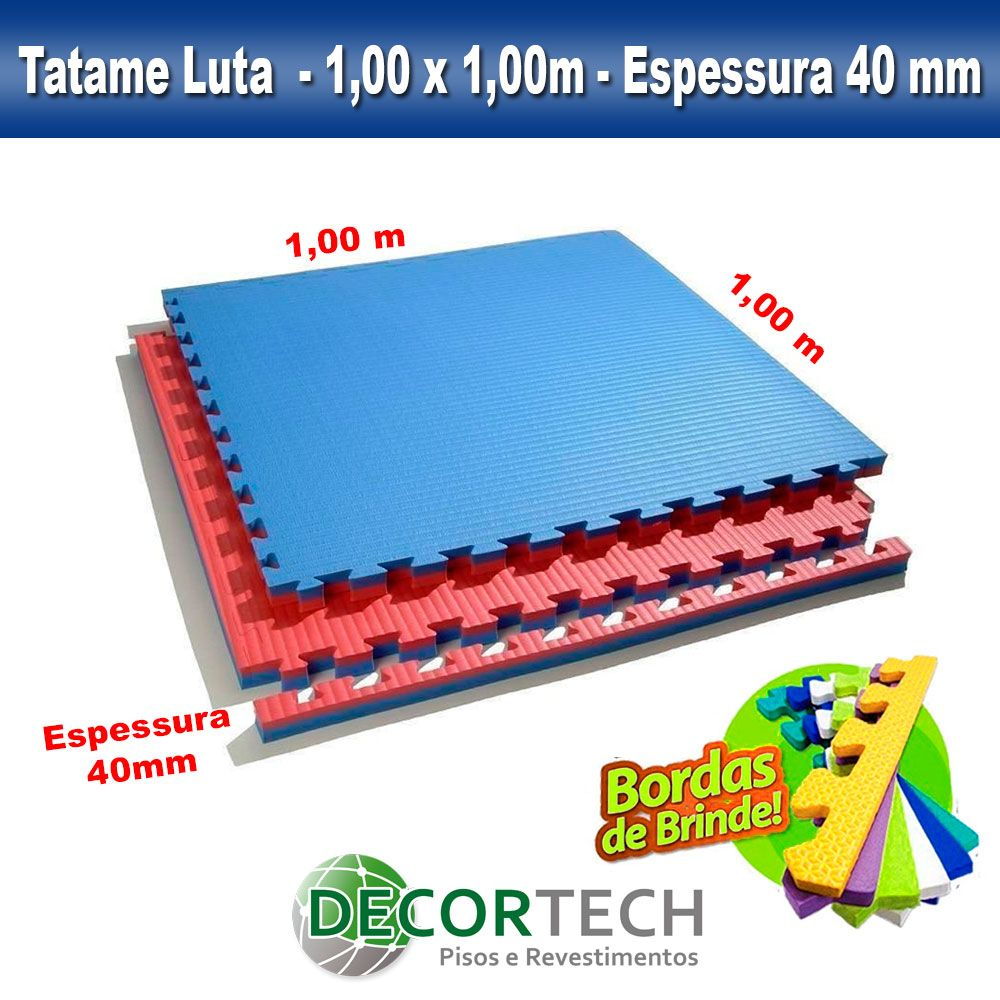 Tatame Eva Alto Impacto UltraMax 1,00 x 1,00m - 40mm - Cores Variadas
