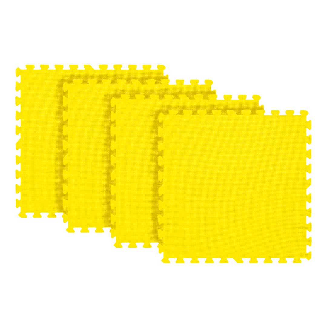 Tatame Eva Kids 10mm KIT 04 placas 0.50x0.50m Amarelo