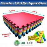 Tatame Eva Kids 20mm KIT 04 placas 0.50x0.50m Rosa