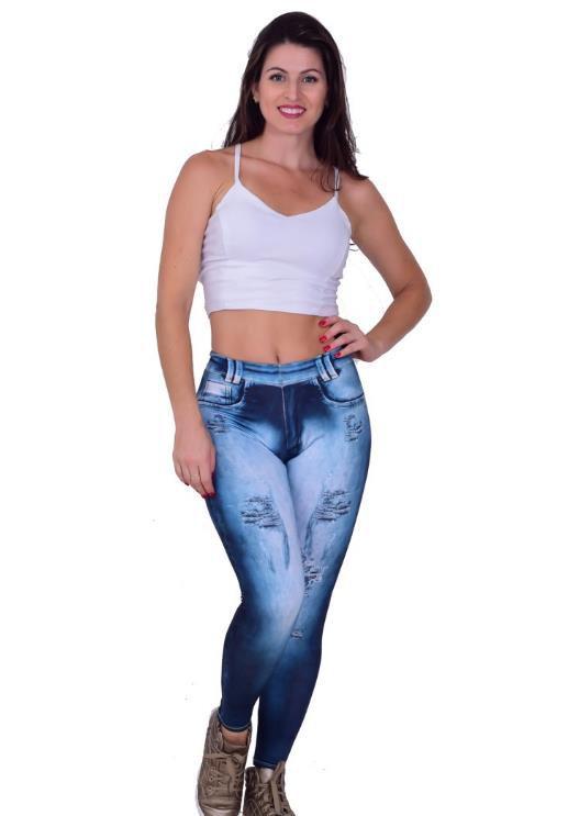 8927c0bbf Calça legging fitness fake jeans - Roupas de Academia - Super ...