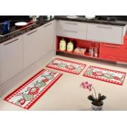 Kit Cozinha Tapete Lancer  KA-23 Vermelho  3 Peças Antiderrapante